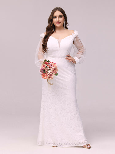Color=Cream | Dainty Fishtail Lace Wholesale Plus Size Wedding Dress-Cream 1