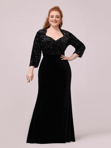 Color=Black | Plus Size Maxi Mermaid Velvet & Sequin Evening Dress-Black 1
