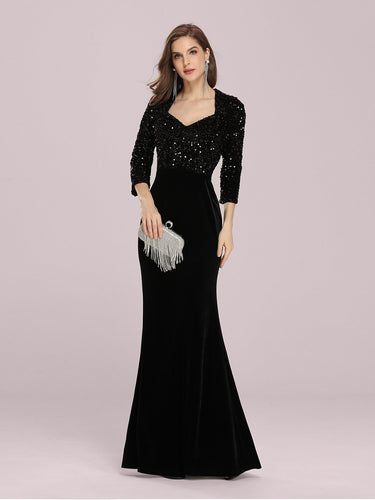 Color=Black | Women'S Hot Maxi Fishtail Wholesale Velvet & Sequin Evening Dress-Black 1