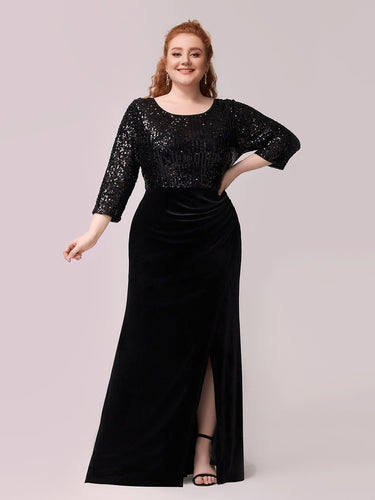 Color=Black | Fashion Mermaid Maxi Plus Size Velvet Evening Dress-Black 1