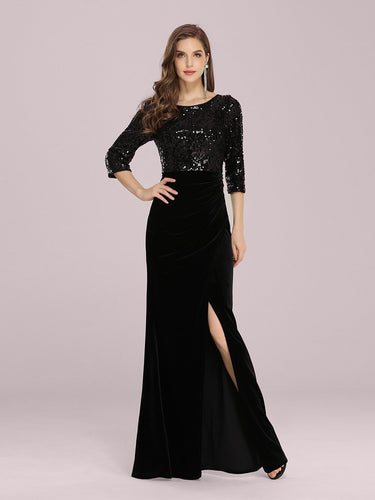 Color=Black | Stunning Mermaid Floor Length Wholesale Velvet Evening Dress With Sequin-Black 1
