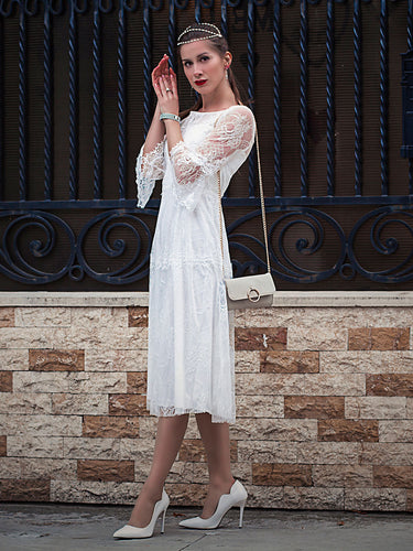Color=Cream | Women'S Simple Knee-Length Lace Causl Dress With 3/4 Sleeves-Cream 6