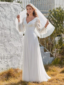 Color=White | Women'S Long-Sleeved Chiffon Wedding Dress With Appliques-White 1