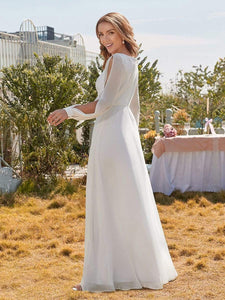 Color=White | Women'S Long-Sleeved Chiffon Wedding Dress With Appliques-White 3