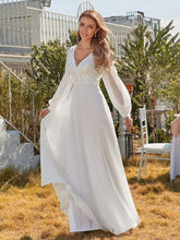Load image into Gallery viewer, Color=White | Women'S Long-Sleeved Chiffon Wedding Dress With Appliques-White 4