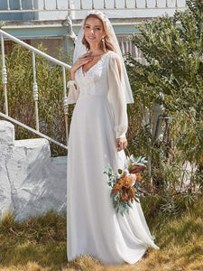 Color=White | Women'S Long-Sleeved Chiffon Wedding Dress With Appliques-White 5
