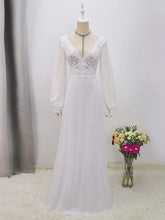Load image into Gallery viewer, Color=White | Women'S Long-Sleeved Chiffon Wedding Dress With Appliques-White 8