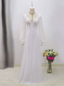 Color=White | Women'S Long-Sleeved Chiffon Wedding Dress With Appliques-White 8