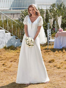 Color=White | Plain Lace & Chiffon Wedding Dress With Puff Sleeves-White 1
