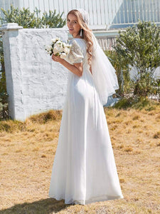 Color=White | Plain Lace & Chiffon Wedding Dress With Puff Sleeves-White 3