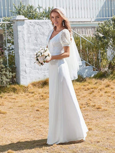Color=White | Plain Lace & Chiffon Wedding Dress With Puff Sleeves-White 4