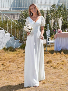 Color=White | Plain Lace & Chiffon Wedding Dress With Puff Sleeves-White 5