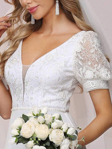 Color=White | Plain Lace & Chiffon Wedding Dress With Puff Sleeves-White 6