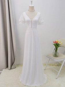 Color=White | Plain Lace & Chiffon Wedding Dress With Puff Sleeves-White 7