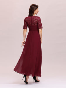 Color=Burgundy | Sexy Sweetheart Neckline Wholesale Chiffon Cocktail Dress With Lace-Burgundy 2