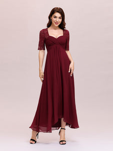 Color=Burgundy | Sexy Sweetheart Neckline Wholesale Chiffon Cocktail Dress With Lace-Burgundy 3