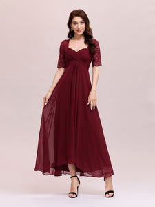 Color=Burgundy | Sexy Sweetheart Neckline Wholesale Chiffon Cocktail Dress With Lace-Burgundy 4