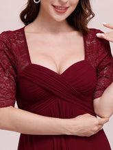 Load image into Gallery viewer, Color=Burgundy | Sexy Sweetheart Neckline Wholesale Chiffon Cocktail Dress With Lace-Burgundy 5