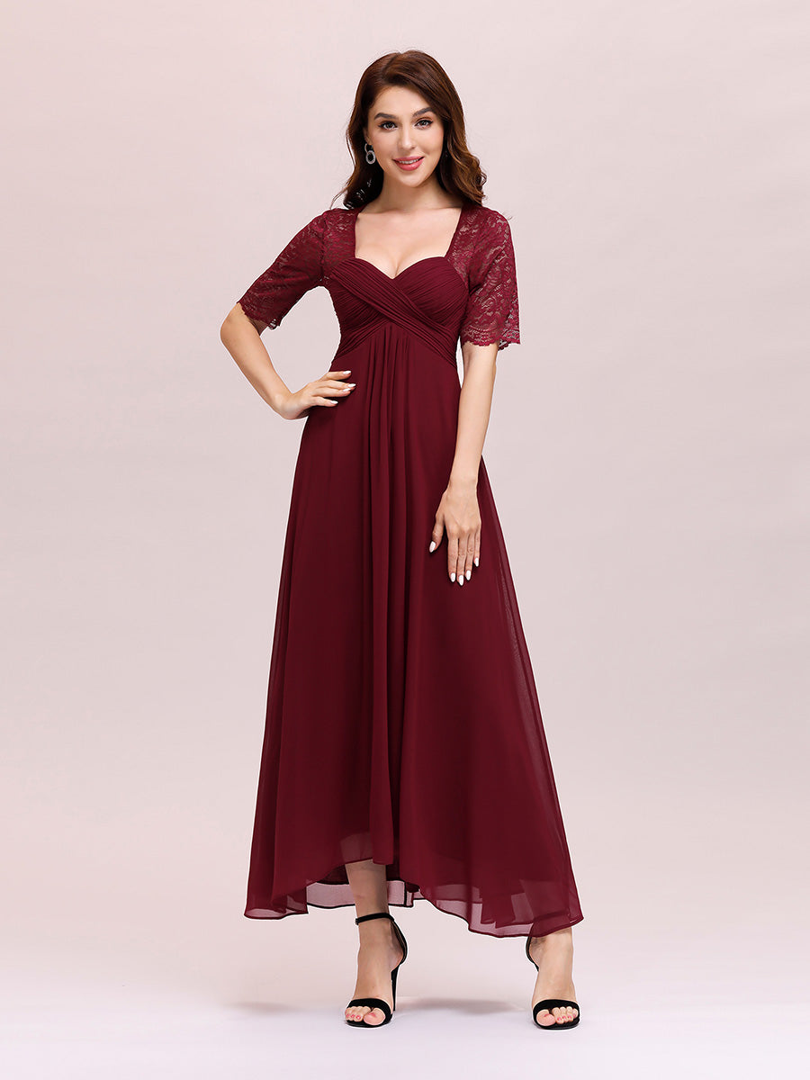 Color=Burgundy | Sexy Sweetheart Neckline Wholesale Chiffon Cocktail Dress With Lace-Burgundy 1