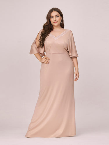 Color=Blush | Elegant V Neck Fishtail Plus Size Evening Dress Wholesale-Blush 1