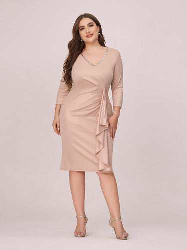Color=Blush | Women'S Plus Size V Neck Knee-Length Party Dresses Wholesale-Blush 1