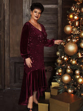 Load image into Gallery viewer, Color=Burgundy | Gorgeous V Neck Sequin & Velvet High-Low Plus Size Party Dress-Burgundy 8