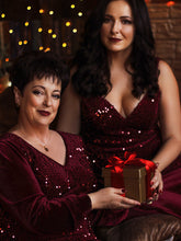 Load image into Gallery viewer, Color=Burgundy | Gorgeous V Neck Sequin & Velvet High-Low Plus Size Party Dress-Burgundy 9