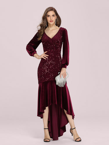 Color=Burgundy | Gorgeous V Neck Sequin & Velvet High-Low Plus Size Party Dress-Burgundy 1