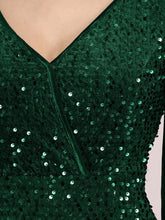 Load image into Gallery viewer, Color=Dark Green | Gorgeous V Neck Sequin & Velvet High-Low Plus Size Party Dress-Dark Green 5