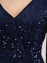 Load image into Gallery viewer, Color=Navy Blue | Gorgeous V Neck Sequin & Velvet High-Low Plus Size Party Dress-Navy Blue 5