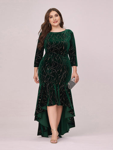Color=Dark Green | Elegant Plus Size Bodycon High-Low Velvet Party Dress-Dark Green 1
