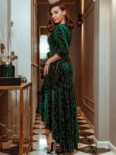 Load image into Gallery viewer, Color=Dark Green | Elegant Plus Size Bodycon High-Low Velvet Party Dress-Dark Green 3