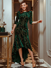 Load image into Gallery viewer, Color=Dark Green | Elegant Plus Size Bodycon High-Low Velvet Party Dress-Dark Green 1