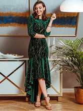 Load image into Gallery viewer, Color=Dark Green | Elegant Plus Size Bodycon High-Low Velvet Party Dress-Dark Green 2