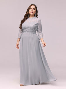 Color=Grey | Women'S Fashion A-Line Chiffon Evening Dress With Sequin-Grey 3