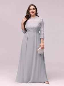 Color=Grey | Women'S Fashion A-Line Chiffon Evening Dress With Sequin-Grey 4