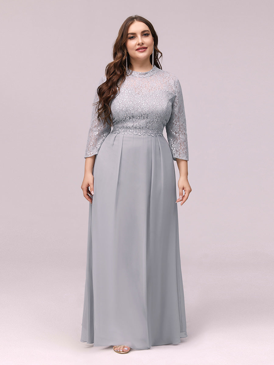 Color=Grey | Women'S Fashion A-Line Chiffon Evening Dress With Sequin-Grey 1