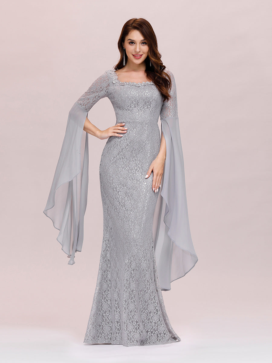 Color=Grey | Stylish Fishtail Squre Neckline Wholesale Prom Dress With Angle Sleeves-Grey 5