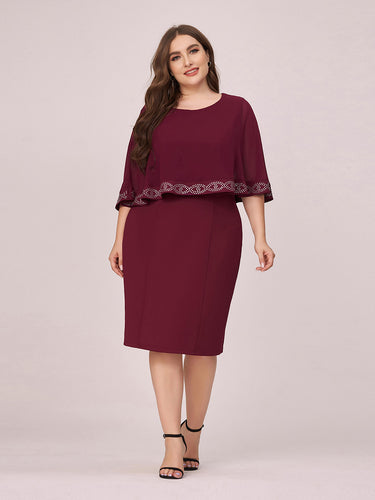 Color=Burgundy | Elegant Round Neck Wholesale Plus Size Work Dress For Party-Burgundy 1