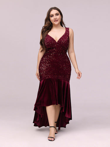 Color=Burgundy | Women'S Sexy High-Low Sequin & Velvet Evening Dress For Cocktail-Burgundy 1