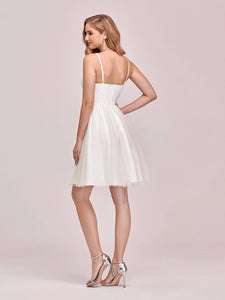 Color=Cream | Women'S Cute Deep V Neck Short Wholesale Cocktail Dress For Party-Cream 3