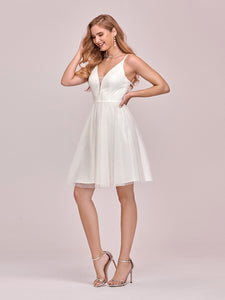 Color=Cream | Women'S Cute Deep V Neck Short Wholesale Cocktail Dress For Party-Cream 4