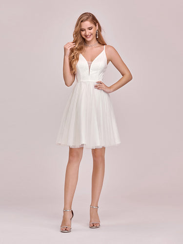 Color=Cream | Women'S Cute Deep V Neck Short Wholesale Cocktail Dress For Party-Cream 1