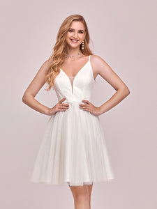 Color=Cream | Women'S Cute Deep V Neck Short Wholesale Cocktail Dress For Party-Cream 2