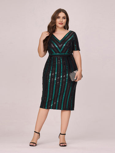 Color=Black | Stunning V Neck Bodycon Wholesale Sequin Cocktail Plus Size Dress-Black 1