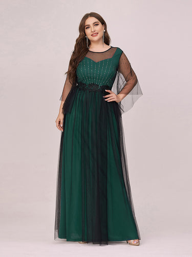 Color=Dark Green | Dainty Wholesale Round Neck Tulle Plus Size Evening Dress-Dark Green 1