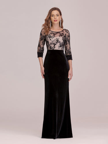 Color=Black | Sexy High Waist Velvet Wholesale Evening Dress With Lace Bodice-Black 1