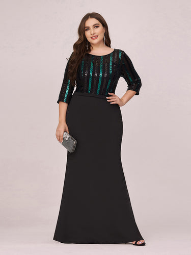 Color=Black | Elegant Round Neck Plus Size Wholesale Evening Dress With Sequin-Black 1