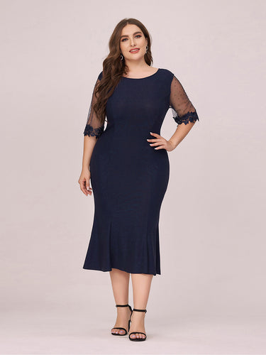 Color=Navy Blue | Modest Round Neck Bodycon Plus Size Wholesale Work Dress-Navy Blue 1
