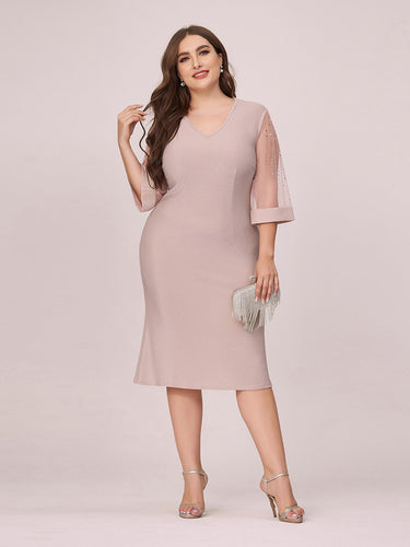 Color=Pink | Women'S Casual Bodycon Knee-Length Plus Size Wholesale Work Dress-Pink 1